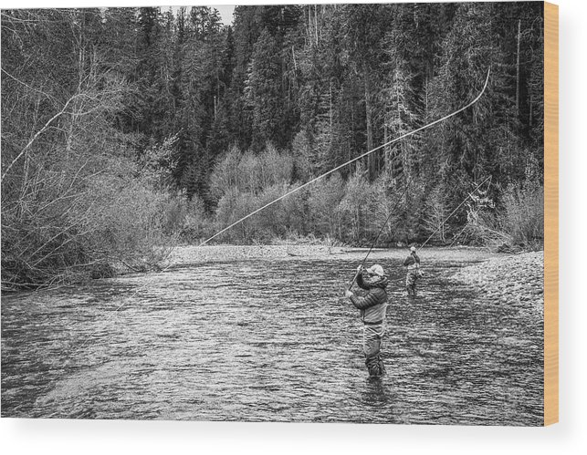 Flyfishing Wood Print featuring the photograph On the River by Jason Brooks