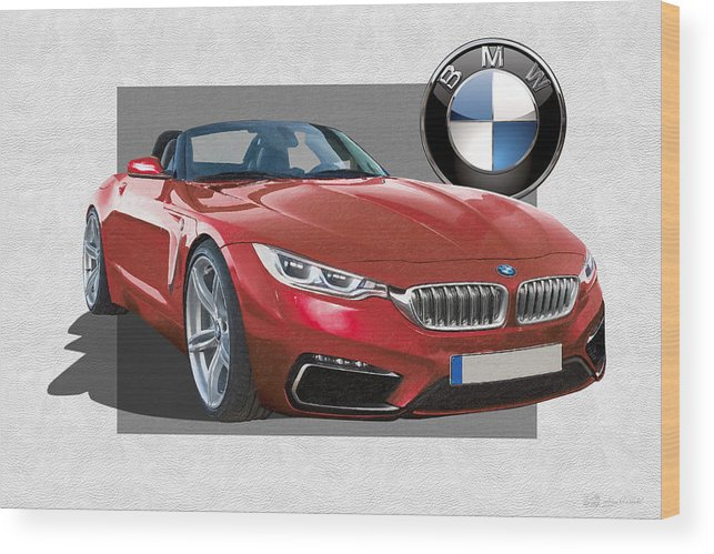 �bmw� Collection By Serge Averbukh Wood Print featuring the photograph Red 2018 B M W Z 5 with 3 D Badge by Serge Averbukh