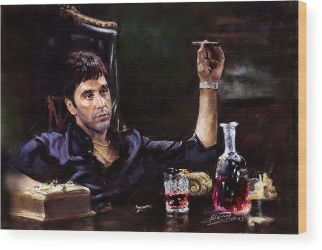 Al Pacino Wood Print featuring the pastel Scarface by Ylli Haruni