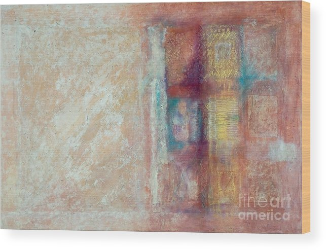 Mixed-media Wood Print featuring the painting Spirit Matter Cosmos by Kerryn Madsen-Pietsch