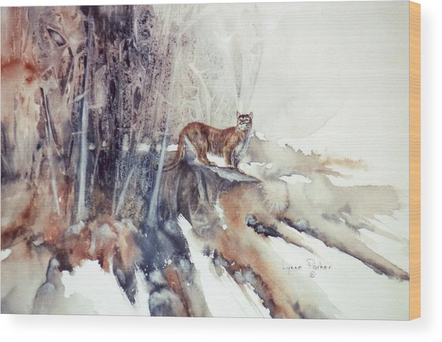 Cougar Wood Print featuring the painting Vantage Point by Lynne Parker