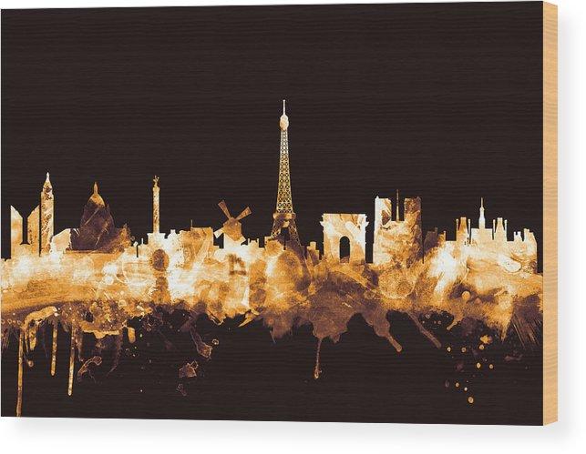 Paris Wood Print featuring the digital art Paris France Skyline by Michael Tompsett