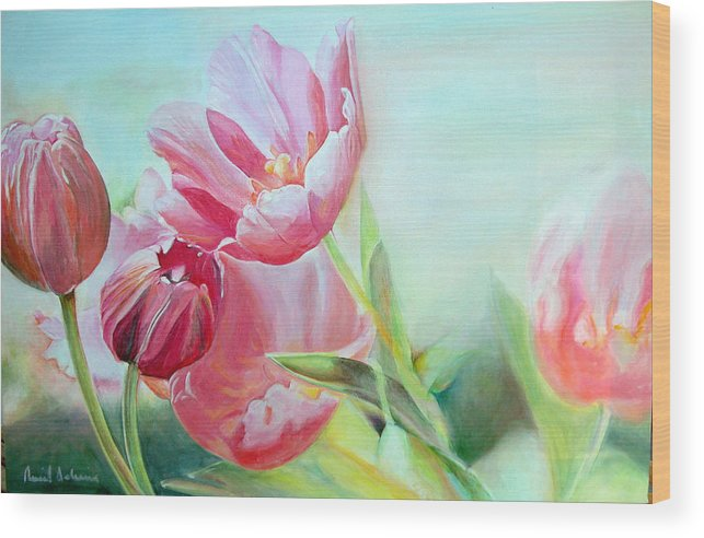 Floral Painting Wood Print featuring the painting Tulipes by Muriel Dolemieux