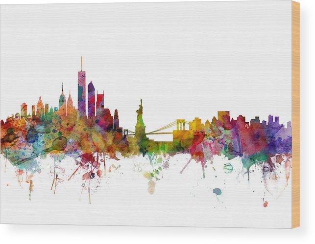 United States Wood Print featuring the digital art New York Skyline by Michael Tompsett