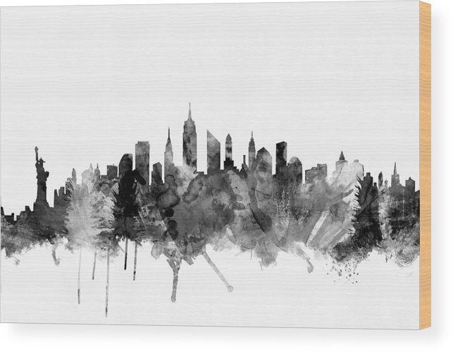 New York Wood Print featuring the digital art New York City Skyline by Michael Tompsett