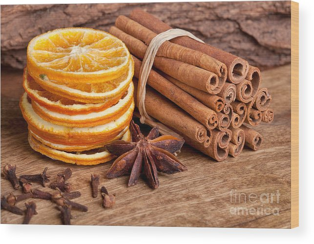 Cinnamon Wood Print featuring the photograph Winter Spices by Nailia Schwarz
