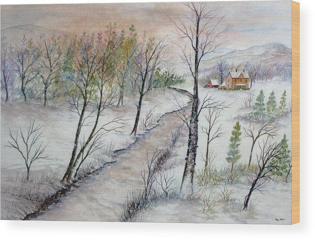 Snow; Creek; Trees; Old House; Sunrise;mountains Wood Print featuring the painting A Country Winter by Ben Kiger