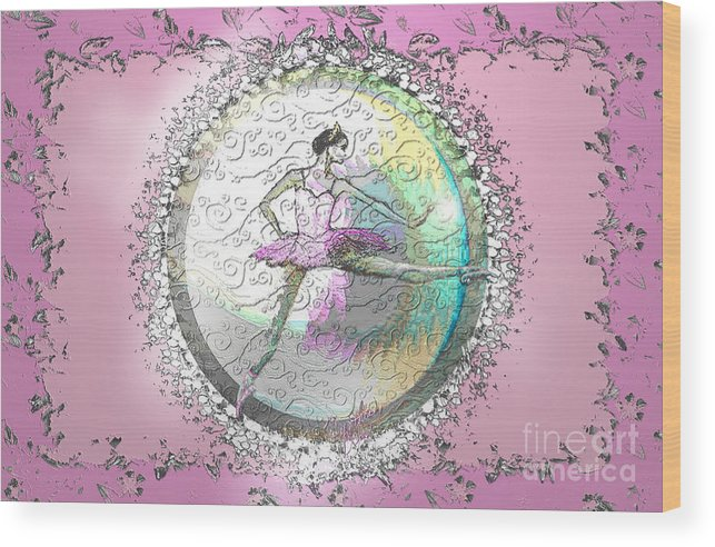 Ballet Wood Print featuring the digital art A La Second Pink Variation by Cynthia Sorensen