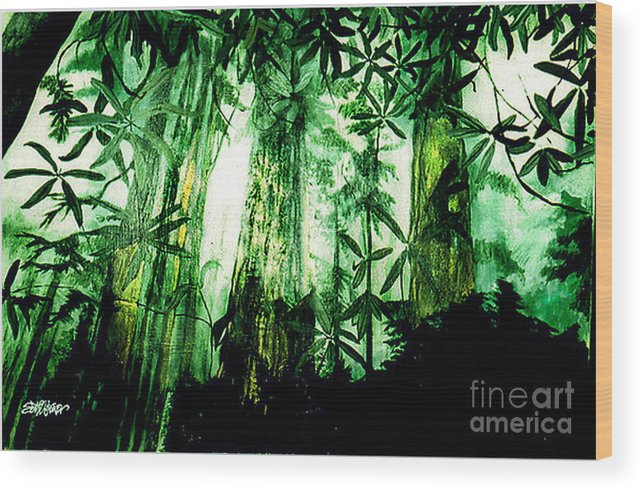 A Light In The Forest Wood Print featuring the painting A Light in the Forest by Seth Weaver