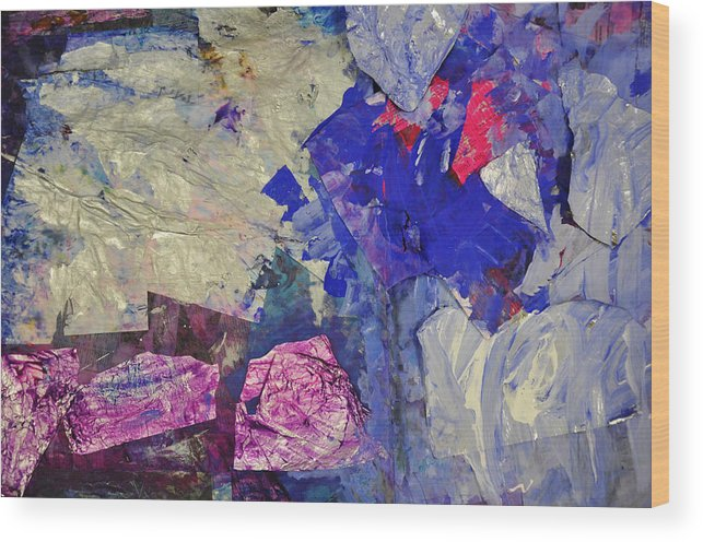Emarc Wood Print featuring the mixed media Abstract Blue by Kim Putney