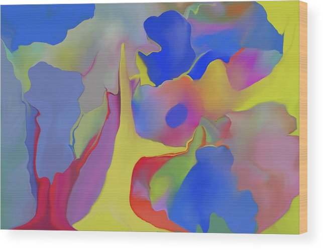 Abstract Wood Print featuring the digital art Abstract Landscape by Peter Shor
