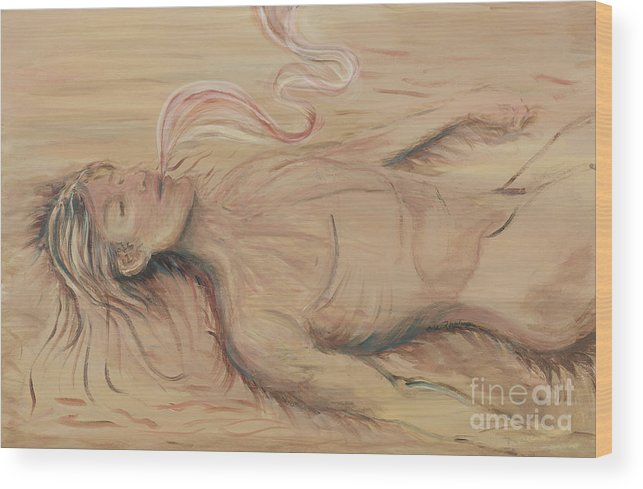 Adam Wood Print featuring the painting Adam and the Breath of God by Nadine Rippelmeyer