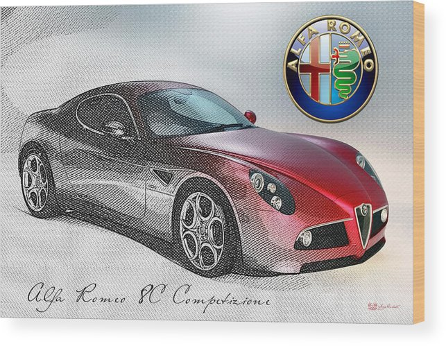 Wheels Of Fortune By Serge Averbukh Wood Print featuring the photograph Alfa Romeo 8C Competizione by Serge Averbukh