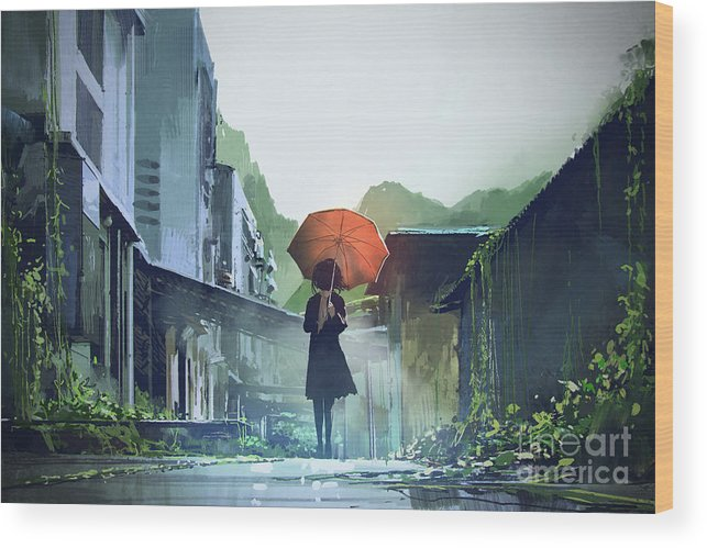 Illustration Wood Print featuring the painting Alone In The Abandoned Town by Tithi Luadthong