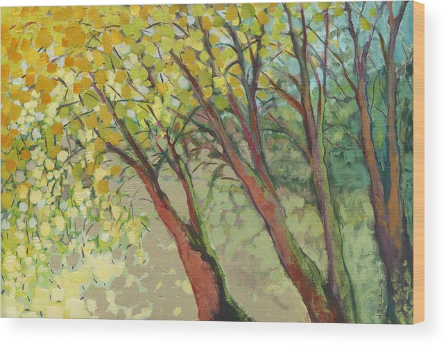 Tree Wood Print featuring the painting An Afternoon at the Park by Jennifer Lommers