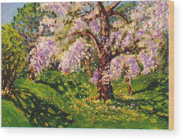 Scenic Wood Print featuring the painting April Dream by Jonathan Carter