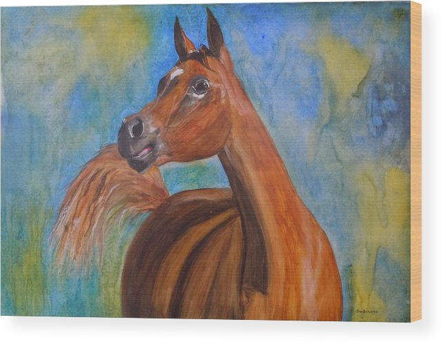 Horse Wood Print featuring the painting Arabian Beauty by Jean Blackmer