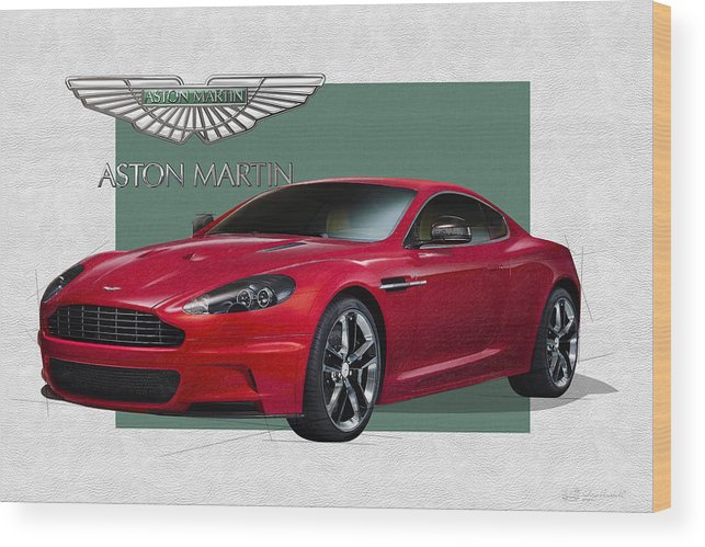 �aston Martin� By Serge Averbukh Wood Print featuring the photograph Aston Martin D B S V 12 with 3 D Badge by Serge Averbukh