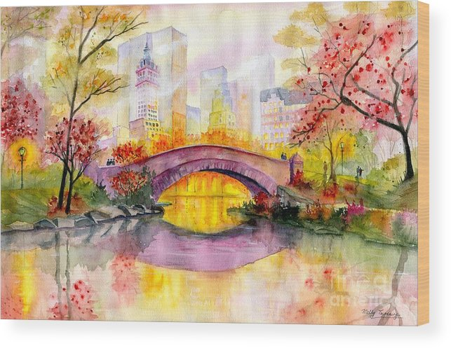 Autumn At Gapstow Bridge Central Park Wood Print featuring the painting Autumn at Gapstow Bridge Central Park by Melly Terpening