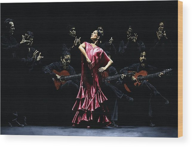 Flamenco Wood Print featuring the painting Bailarina Orgullosa del Flamenco by Richard Young