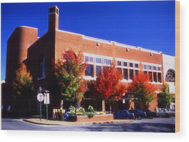 Bank In Fayetteville Wood Print featuring the mixed media Bank in Fayetteville by Curtis J Neeley Jr