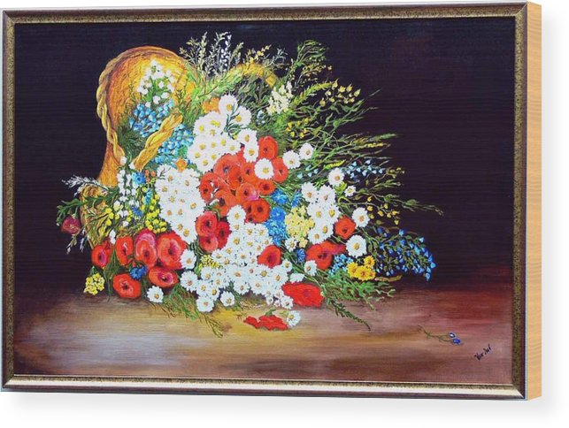 Summer Wood Print featuring the painting Basket with summer flowers by Helmut Rottler