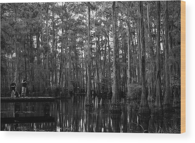 Swamps Wood Print featuring the photograph Bayou Family Fishing by Ester McGuire