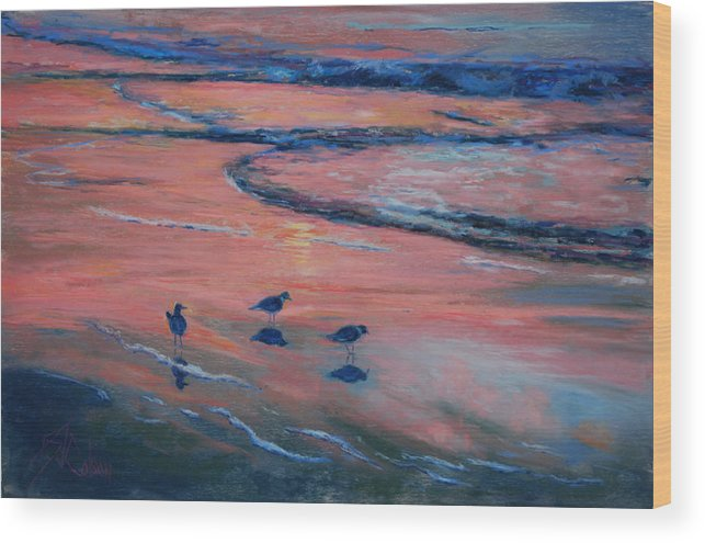 Beach Scenes Wood Print featuring the painting Beach Combers by Billie Colson
