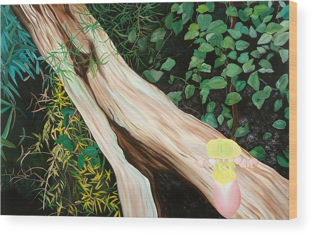 Tree Wood Print featuring the painting Beginning Life by Sunhee Kim Jung