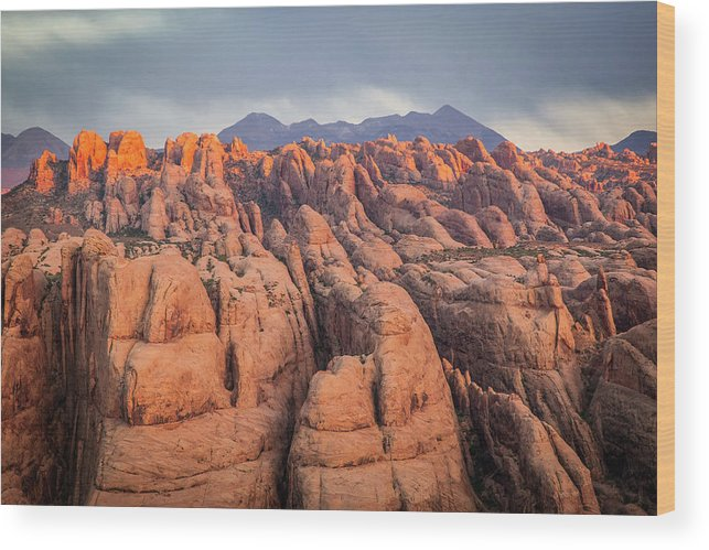 Moab Wood Print featuring the photograph Behind The Rocks by Whit Richardson