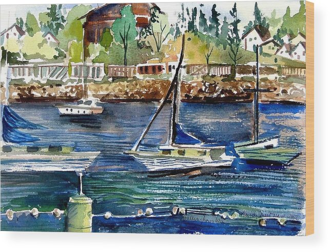 Bellingham Wood Print featuring the painting Bellingham Washington The Beauty by Mindy Newman