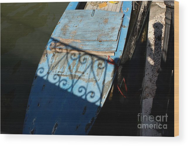 Boat Wood Print featuring the photograph Blue Boat in Venice with Shadow by Michael Henderson