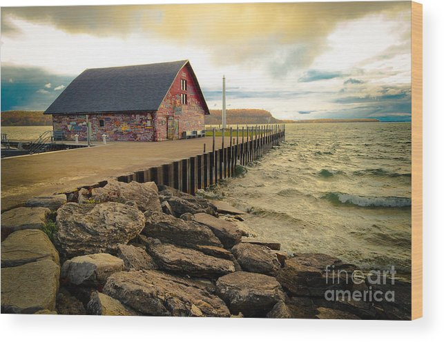 Door County Wood Print featuring the photograph Blustery Day At Anderson Barn by Ever-Curious Photography