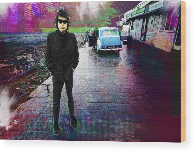Bob Dylan Wood Print featuring the painting Bob Dylan No Direction Home 1 by Tony Rubino