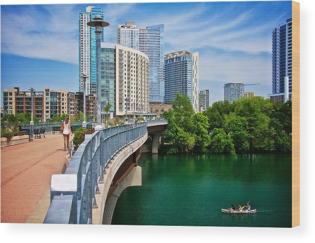 Austin Wood Print featuring the photograph Bridge With A View by Zayne Diamond Photographic