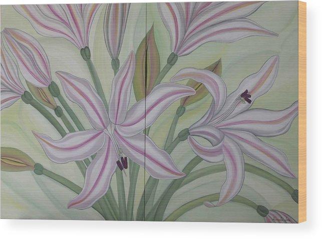 Marinella Owens Wood Print featuring the painting Brunsvigia Grandiflora by Marinella Owens