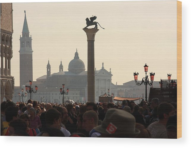 Venice Wood Print featuring the photograph Busy Day at St. Mark's Square by Michael Henderson