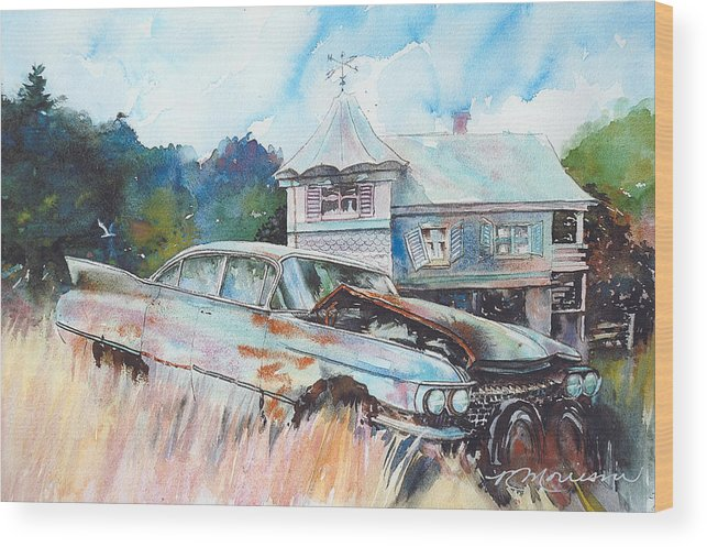 Cadillac Wood Print featuring the painting Caddy Sliding Down the Slope by Ron Morrison