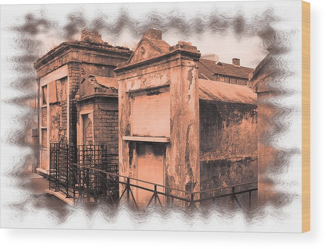 New Orleans Wood Print featuring the photograph Cemetary Row by Linda Kish