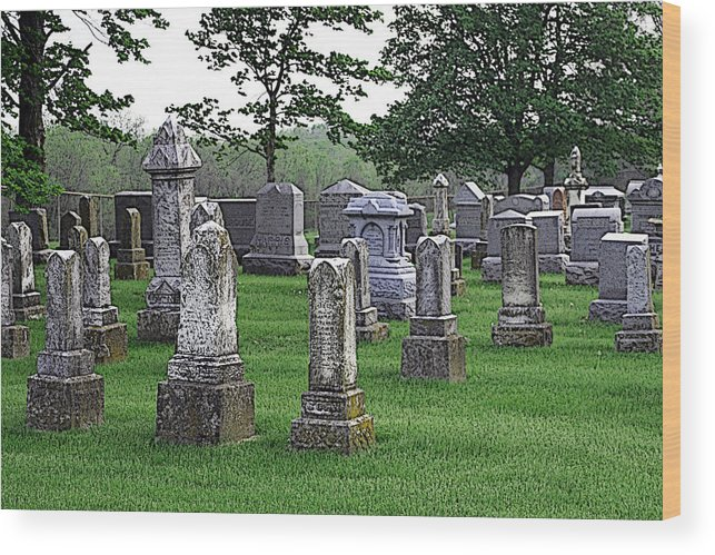Cemetery Wood Print featuring the photograph Cemetery Grunge by Carl Perry