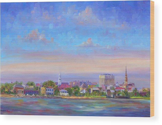 Charleston Wood Print featuring the painting Charleston Skyline by Jeff Pittman
