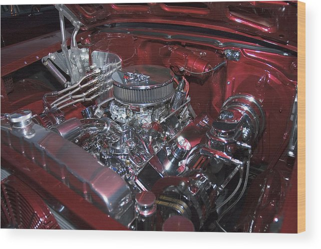 Auto Wood Print featuring the photograph Chrome Red and Powerful by Richard Henne