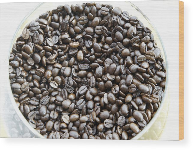 Aroma; Brazilian; Beans; Coffee Wood Print featuring the photograph Coffee Beans from Brazil by Steve Outram