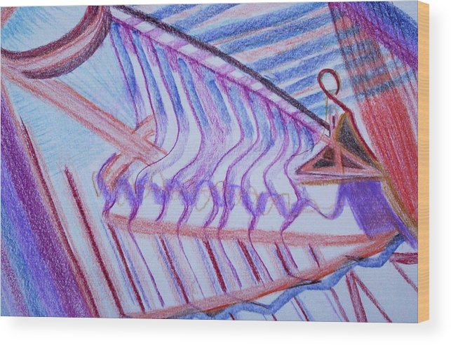 Abstract Wood Print featuring the painting Construction by Suzanne Udell Levinger