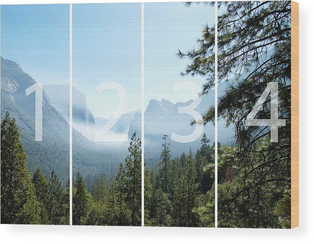 El Capitan Wood Print featuring the digital art Controlled Burn of Yosemite panoramic map by Michael Bessler