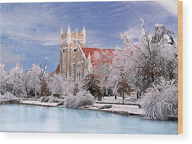 Winter Wood Print featuring the photograph Country Club Christian Church by Steve Karol
