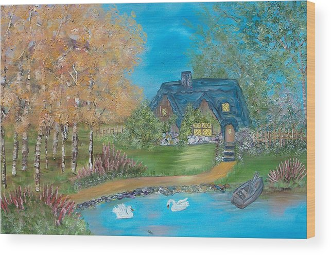 Cottage Wood Print featuring the painting Country Cottage by Mikki Alhart