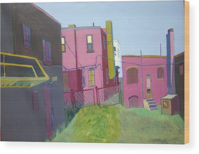 Alleyway Wood Print featuring the painting Courtyard View by Debra Bretton Robinson