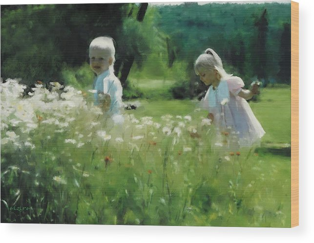 Daisy Wood Print featuring the digital art Daisy Field of Innocents by Elzire S