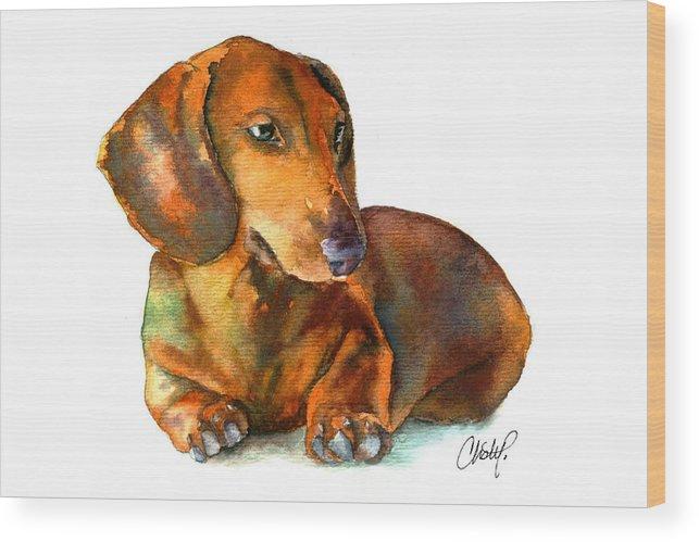 Daschund Wood Print featuring the painting Daschund Puppy Dog by Christy Freeman Stark